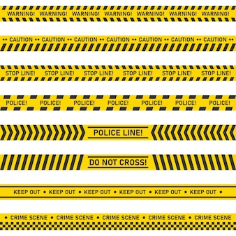 Grande conjunto de fitas sem costura de precaução de perigo em fundo branco.