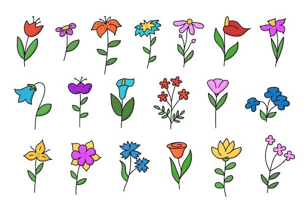 Grande conjunto de flores de doodle. tulipa, camomila, lírio, centáurea e outros desenhados à mão em cores. ilustração vetorial isolada no fundo branco.