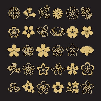Grande conjunto de flores de flor dourada, folhas e ramos