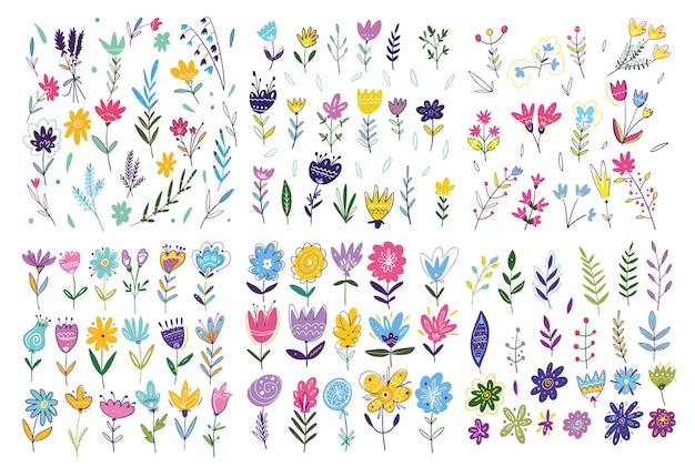 Grande conjunto de flores de primavera. mão-extraídas ilustração vetorial. estilo de desenho animado. isolado