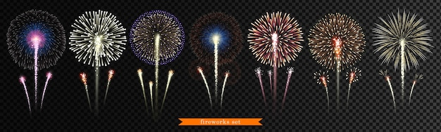 Grande conjunto de fogos de artifício em fundo transparente