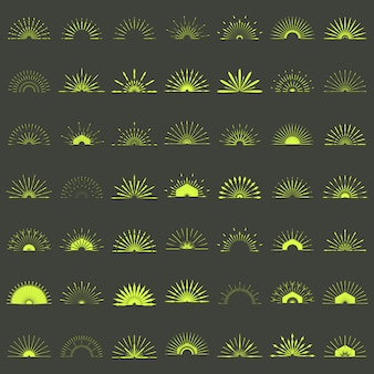 Grande conjunto de formas retrô sunburst