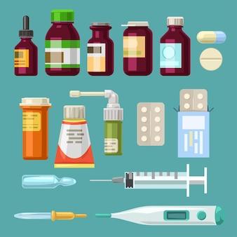 Grande conjunto de frascos de remédios simples