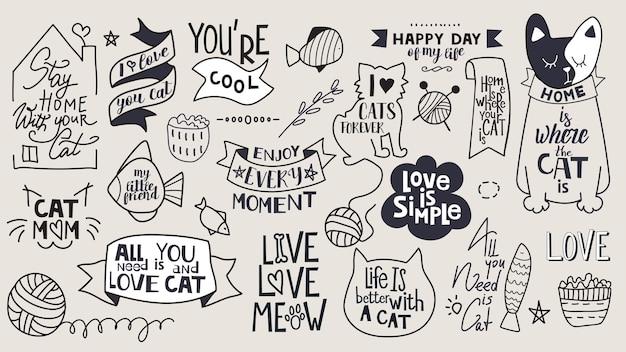Grande conjunto de frases motivacionais, citações e adesivos. tema do gato