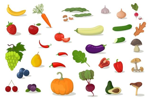 Grande conjunto de frutas. design plano moderno. objetos isolados. ícones de frutas.