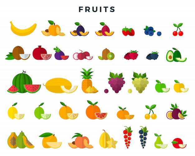 Grande conjunto de frutas e bagas, inteiras e fatias. coleção de ícones de frutas. ilustração vetorial em estilo simples.