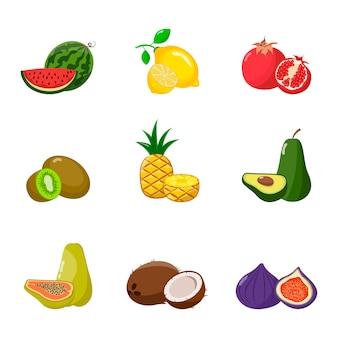 Grande conjunto de frutas.