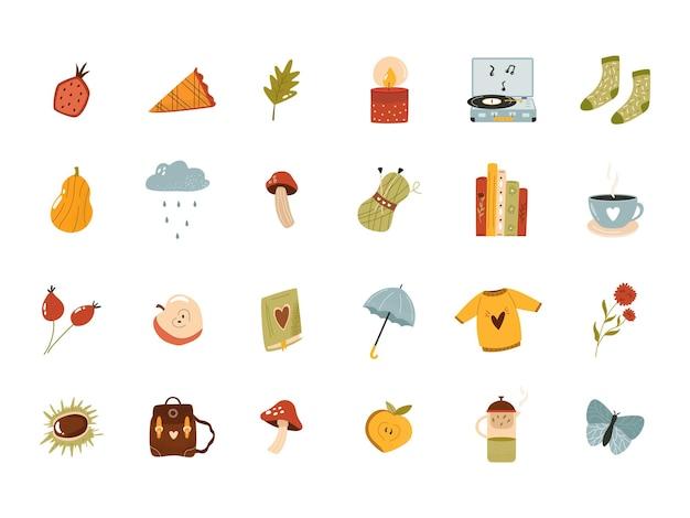 Grande conjunto de ícones aconchegantes de outono em estilo simples. coleção de vetores hygge em fundo branco
