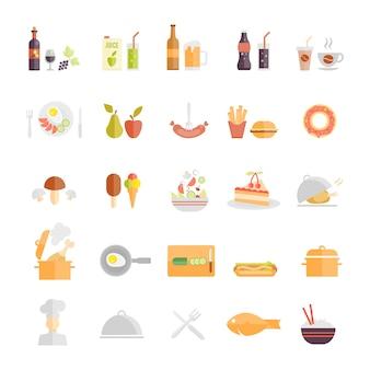 Grande conjunto de ícones de alimentos e bebidas