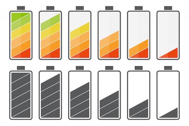 Grande conjunto de ícones de carga da bateria