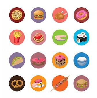 Grande conjunto de ícones de comida