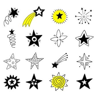 Grande conjunto de ícones de estrelas do doodle