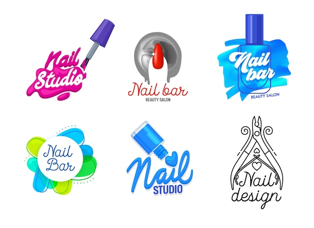 Grande conjunto de ícones de estúdio de arte de unhas ou design de logotipo.