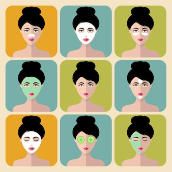 Grande conjunto de ícones de mulheres com máscaras faciais de diferentes tratamentos cosméticos em estilo simples. rostos femininos ou coleção de cabeças.