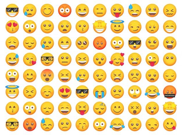 Grande conjunto de ícones de sorriso de emoticon. conjunto de emoji dos desenhos animados. conjunto de emoticon