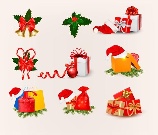 Grande conjunto de ícones e objetos de natal
