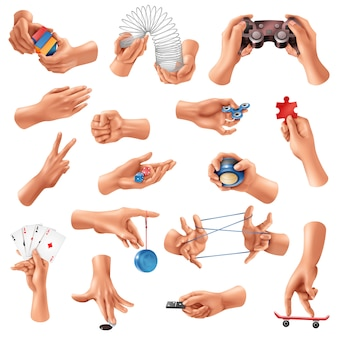 Grande conjunto de ícones realistas com mãos humanas, jogando jogos diferentes isolados no branco