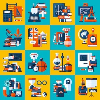 Grande conjunto de ícones sobre temas de educação e faculdade