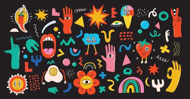 Grande conjunto de illustartions vetor de cores diferentes em design plano de desenho animado. formas abstratas desenhadas à mão, engraçadas e fofas
