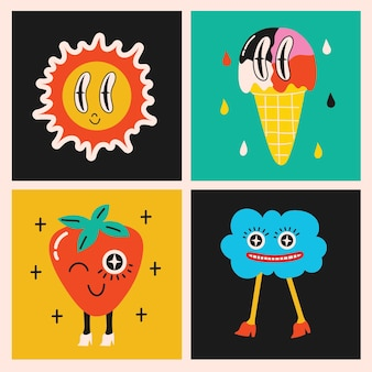 Grande conjunto de illustartions vetor de cores diferentes em design plano de desenho animado. mão-extraídas formas abstratas, personagens de quadrinhos fofos engraçados.