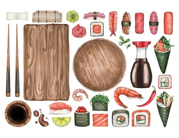 Grande conjunto de ilustrações em aquarela de sushi