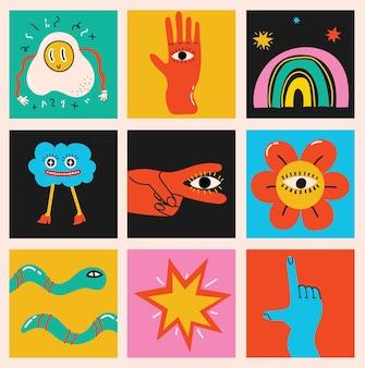 Grande conjunto de ilustrações vetoriais de cores diferentes em formas abstratas desenhadas à mão de design plano de desenho animado ...