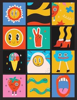 Grande conjunto de ilustrações vetoriais de cores diferentes em formas abstratas desenhadas à mão de design plano de desenho animado ... Vetor Premium