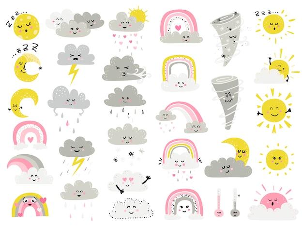 Grande conjunto de itens de penas dos desenhos animados para crianças