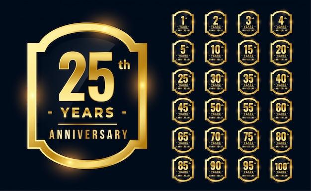 Grande conjunto de logotipo de aniversário premium na cor dourada