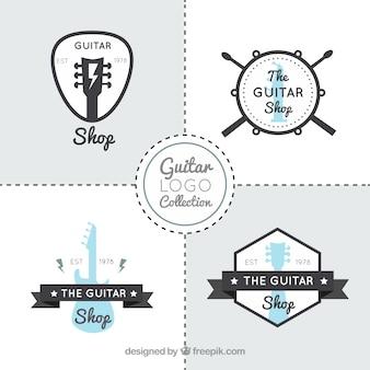 Grande conjunto de logotipos de guitarra plana