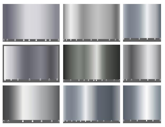 Grande conjunto de luxo de metal prateado de gradiente simples.