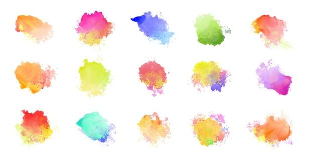 Grande conjunto de manchas coloridas em aquarela