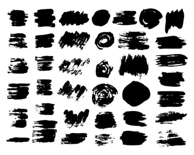 Grande conjunto de manchas de rabisco de esboço. manchas de rabisco de tinta desenhada à mão. ilustração vetorial.