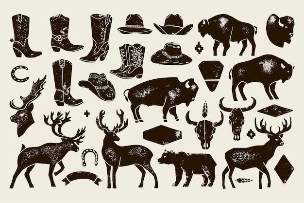Grande conjunto de mão desenhar sinais nativos americanos antigos de cervos, búfalos, botas e chapéus de cowboy, caveiras de vaca, urso. silhueta de distintivo vetorial para criar logotipos, letras, pôsteres e cartões postais.