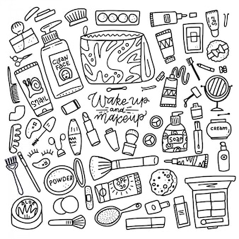 Grande conjunto de maquiagem e cosméticos para cuidados com a pele. linear de preto e branco compõem a coleção para loja e spa. ilustração de linha desenhada de mão.