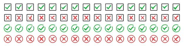 Grande conjunto de marcas de verificação verdes e cruzes vermelhas