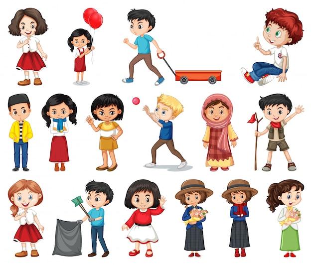 Grande conjunto de meninos e meninas fazendo atividades diferentes