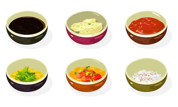Grande conjunto de molhos asiáticos, pastas, condimentos, temperos em tigelas de soja, queijo, mostarda com mel, kimchi picante, sementes de gergelim torradas esmagadas e amendoim.