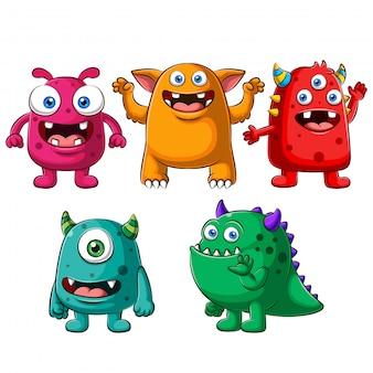 Grande conjunto de monstros coloridos engraçados bonito dos desenhos animados