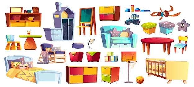 Grande conjunto de móveis de madeira, brinquedos macios e acessórios para quarto de crianças, quarto dos desenhos animados