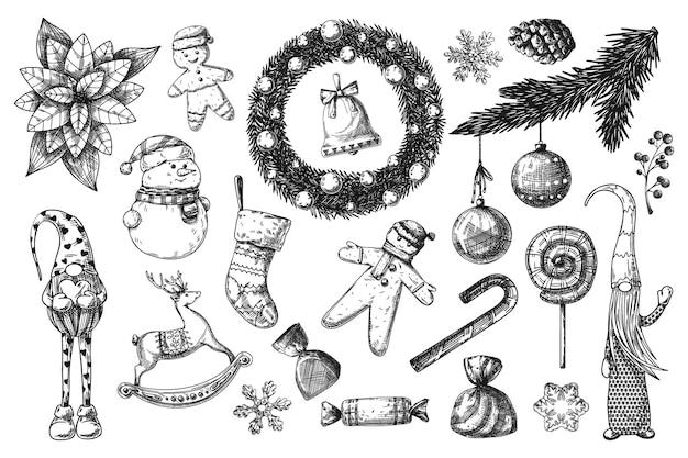 Grande conjunto de natal. brinquedos, boneco de neve, grinalda e outros elementos de natal. sketch vector