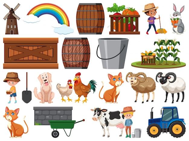 Grande conjunto de objetos de fazenda isolada
