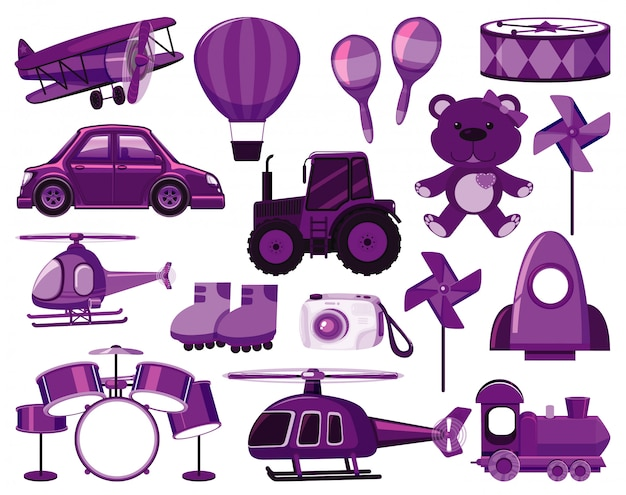Grande conjunto de objetos diferentes em roxo