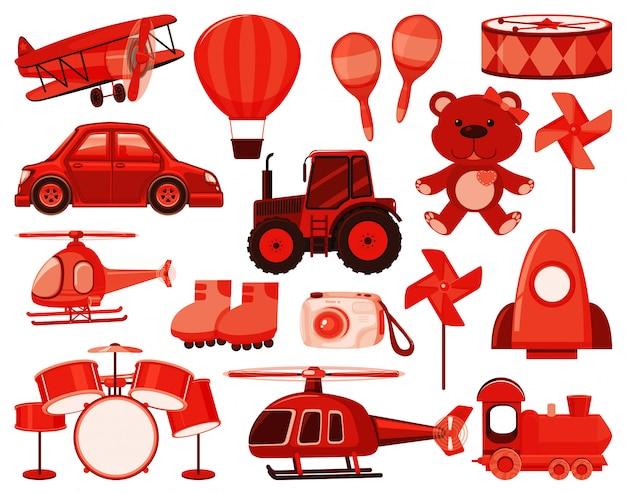 Grande conjunto de objetos diferentes em vermelho