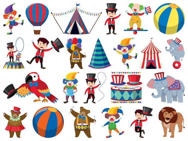 Grande conjunto de objetos isolados de circo