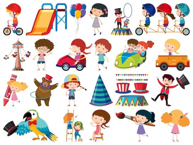 Grande conjunto de objetos isolados de crianças e circo