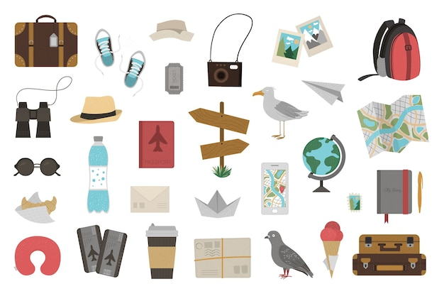 Grande conjunto de objetos itinerantes, isolados no fundo branco. kit de viagem da moda. coleção de ícones de viagens. pacote de elementos de infográfico de férias.
