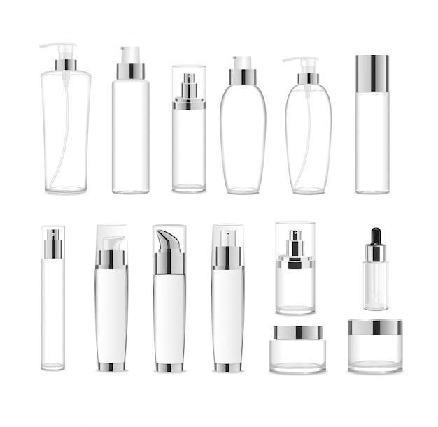 Grande conjunto de pacotes de cosméticos acrílicos transparentes com tampas de prata.