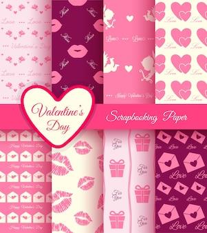 Grande conjunto de padrões para álbum de recortes ou feriados do dia dos namorados