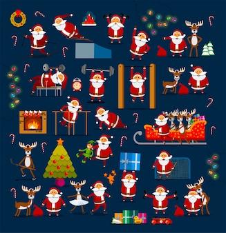 Grande conjunto de papais noéis em diferentes poses para decoração de natal e ano novo.